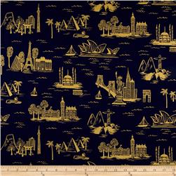 Cotton + Steel Rifle Paper Co. Les Fleurs Lawn Metallic City Toile Navy