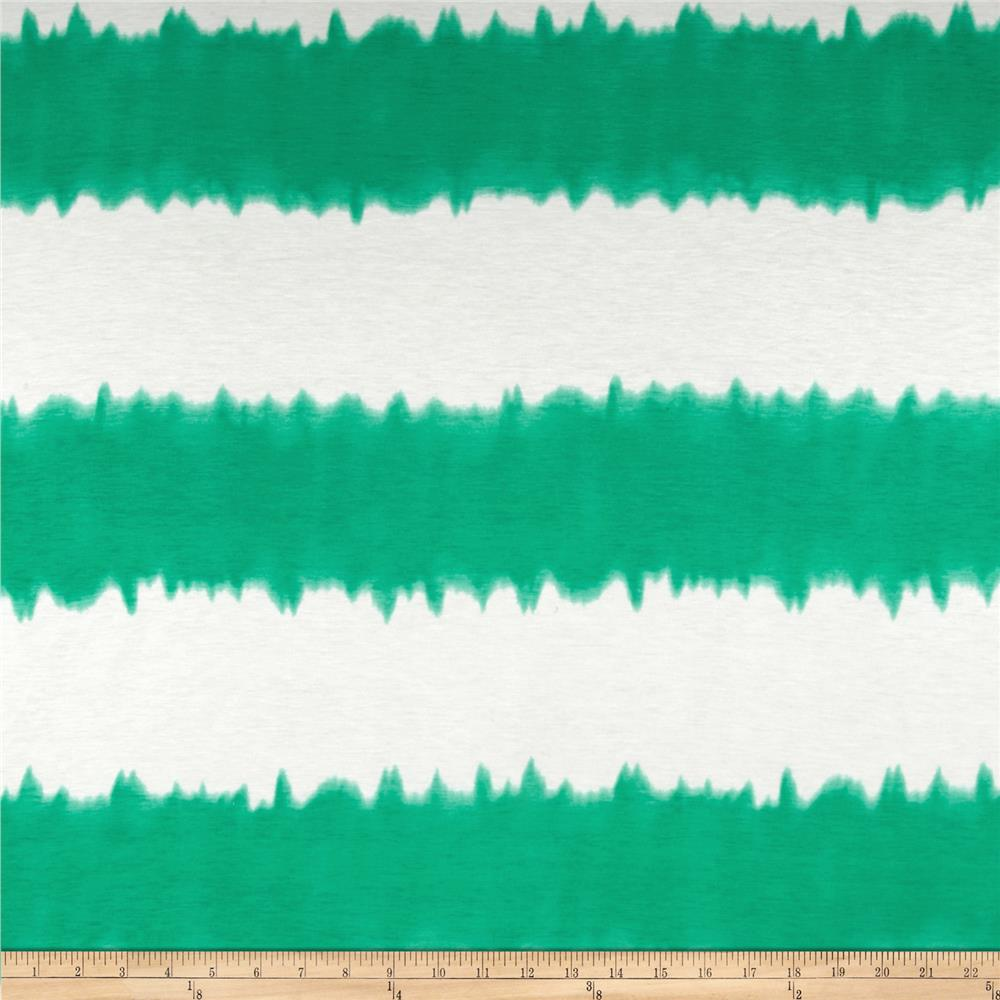 Stretch Rayon Jersey Knit Tie-Dyed Green/White