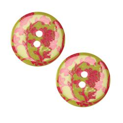 Fashion Button 1'' Damask Lime/Hot Pink