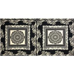 Crepe de Chine Scarf Panel Flourish Black/Ivory