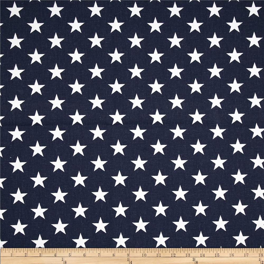 Premier Prints Stars Navy Blue/White - Discount Designer Fabric ...