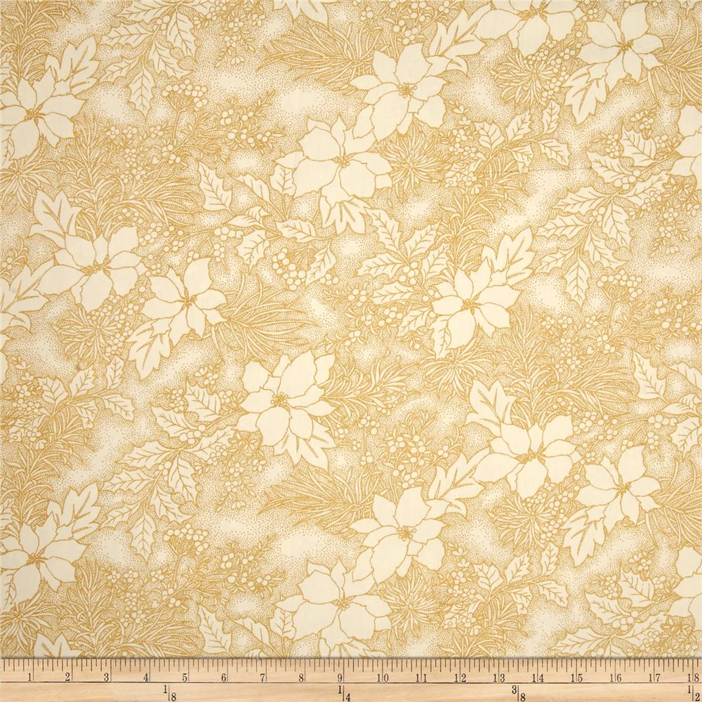 Moda Let it Glow Metallic 108 In. Quilt Back Poinsettia Cream