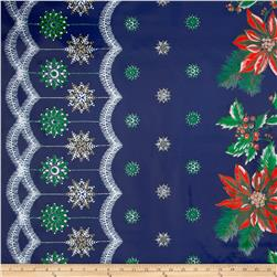 Oil Cloth Christmas Border Blue Fabric