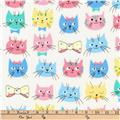 Kaufman Whiskers and Tails Cat Faces Pastel