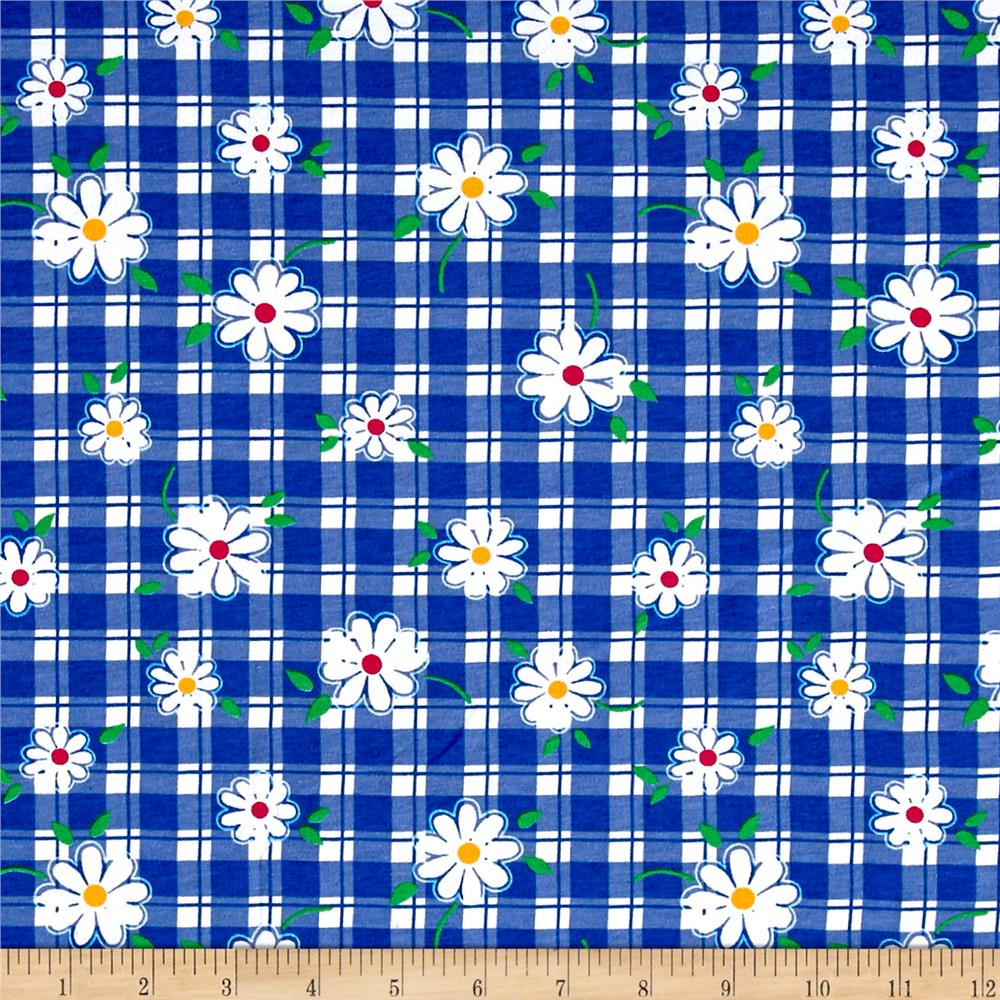 Cotton Jersey Knit Daisies on Gingham White/Blue