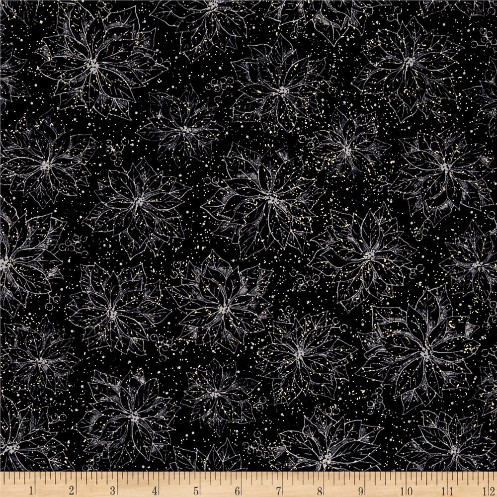 Joy To The World Metallic Poinsettia Toile Black