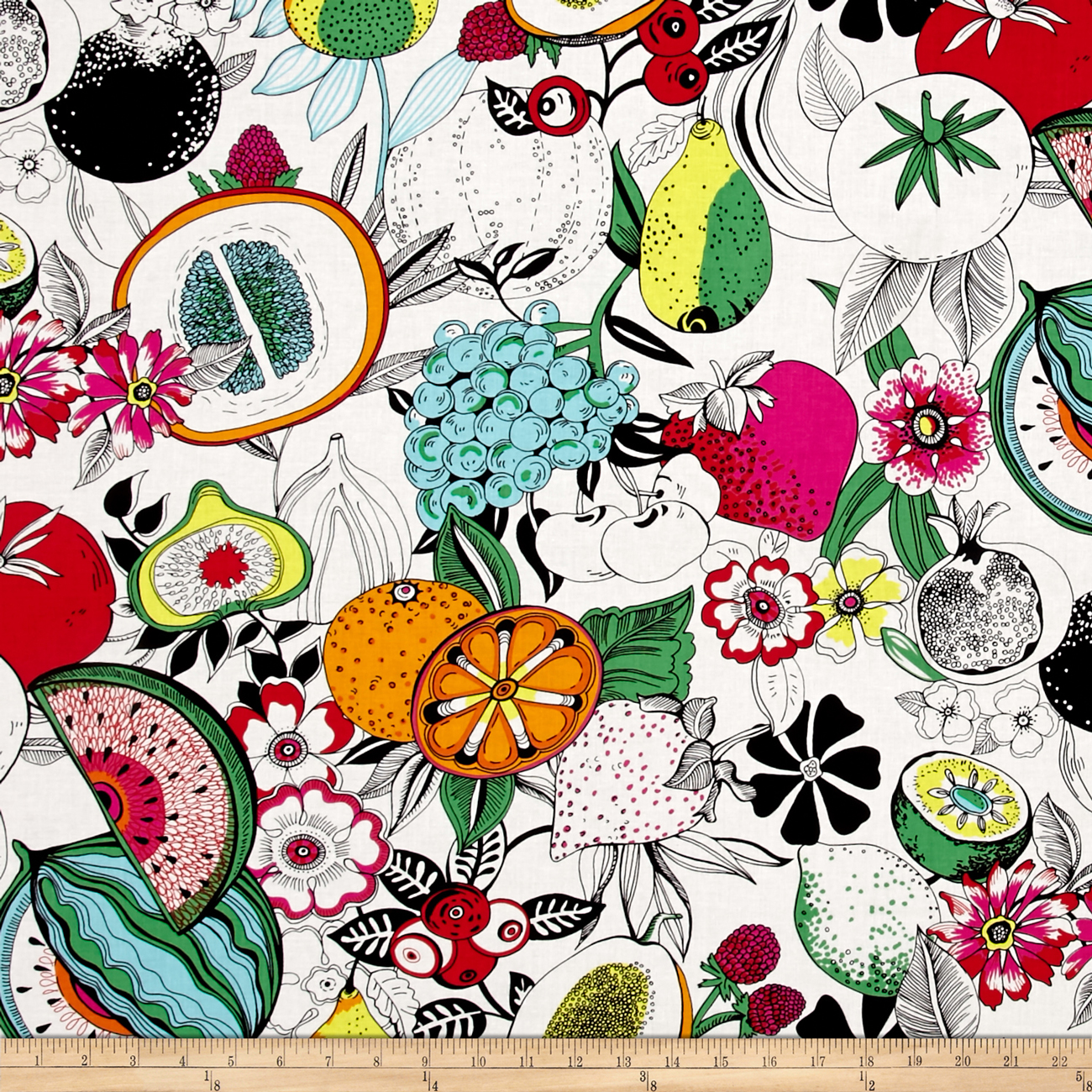 Alexander Henry June Bug Tropical Punch Natural Fabric by Alexander Henry in USA