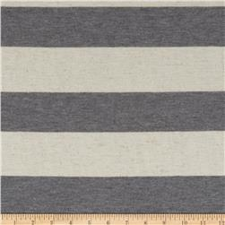 Yarn Dyed Jersey Knit Wide Stripe Natural/Grey