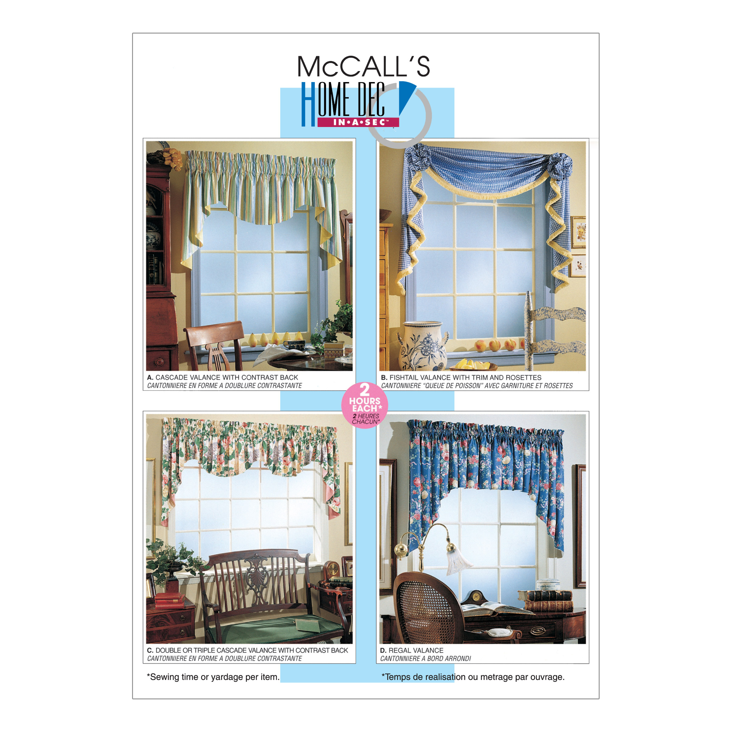 McCall's 2 Hour Valance Classics Pattern M3089 Size OSZ by Kwik Sew in USA