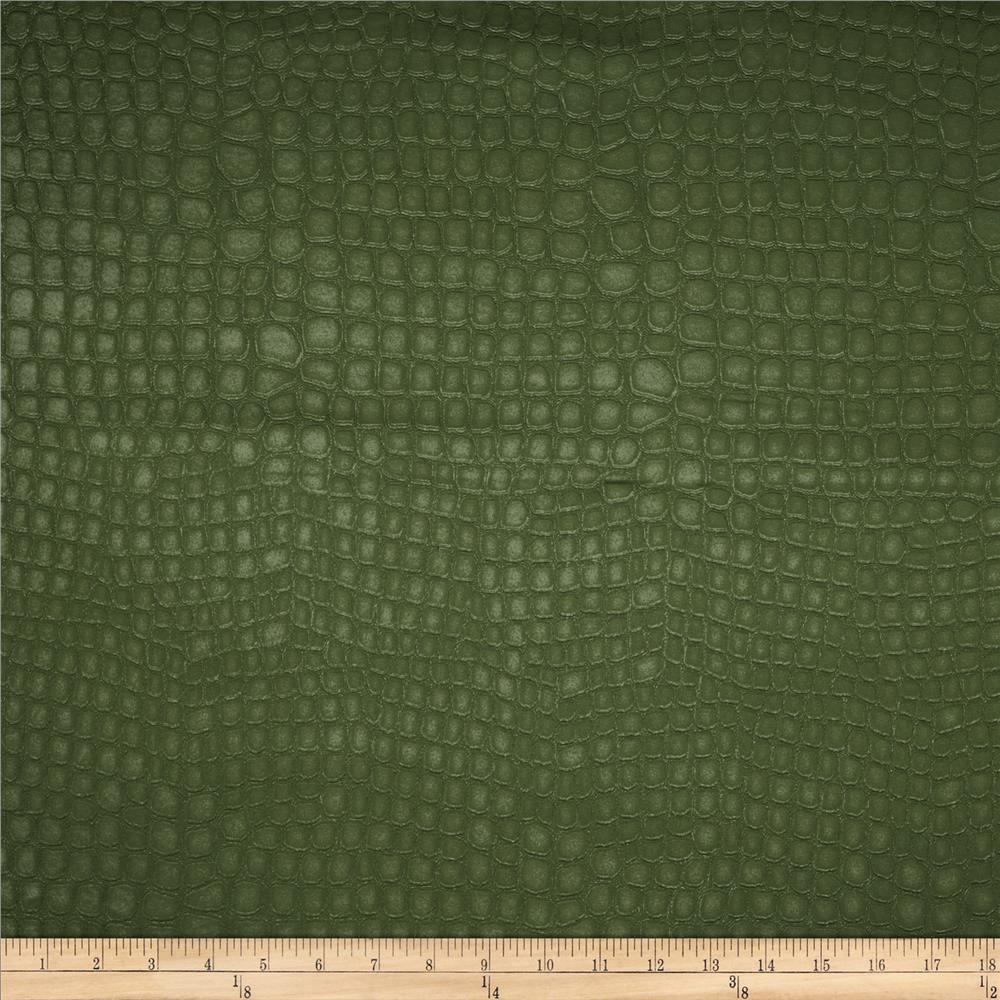 Golding Crocodile Flannel Back Satin Army Green