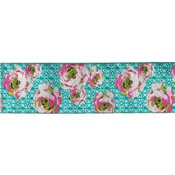 "1 7/8"" Amy Butler Roses Pink & White on Aqua"