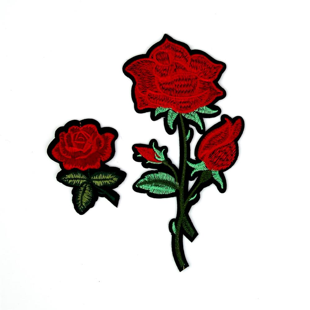 4821ee3a342 Maye Red Roses Flower Embroidered Iron On Patch -2 Pack 7