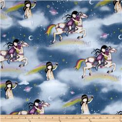 Rainbow Dreams Girl & Horse Celestial Scenic Blue