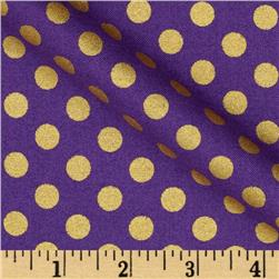 Kaufman Spot On Metallic Medium Dot Plum Fabric