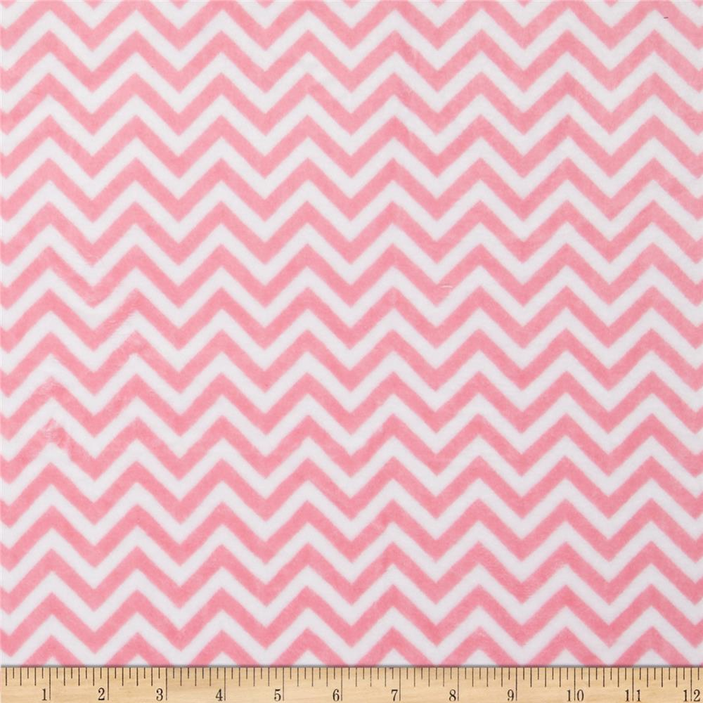 Minky Cuddle Mini Chevron Paris Pink/Snow
