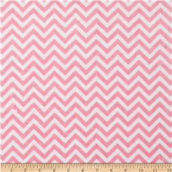 Minky Cuddle Mini Chevron Paris Pink/Snow Fabric
