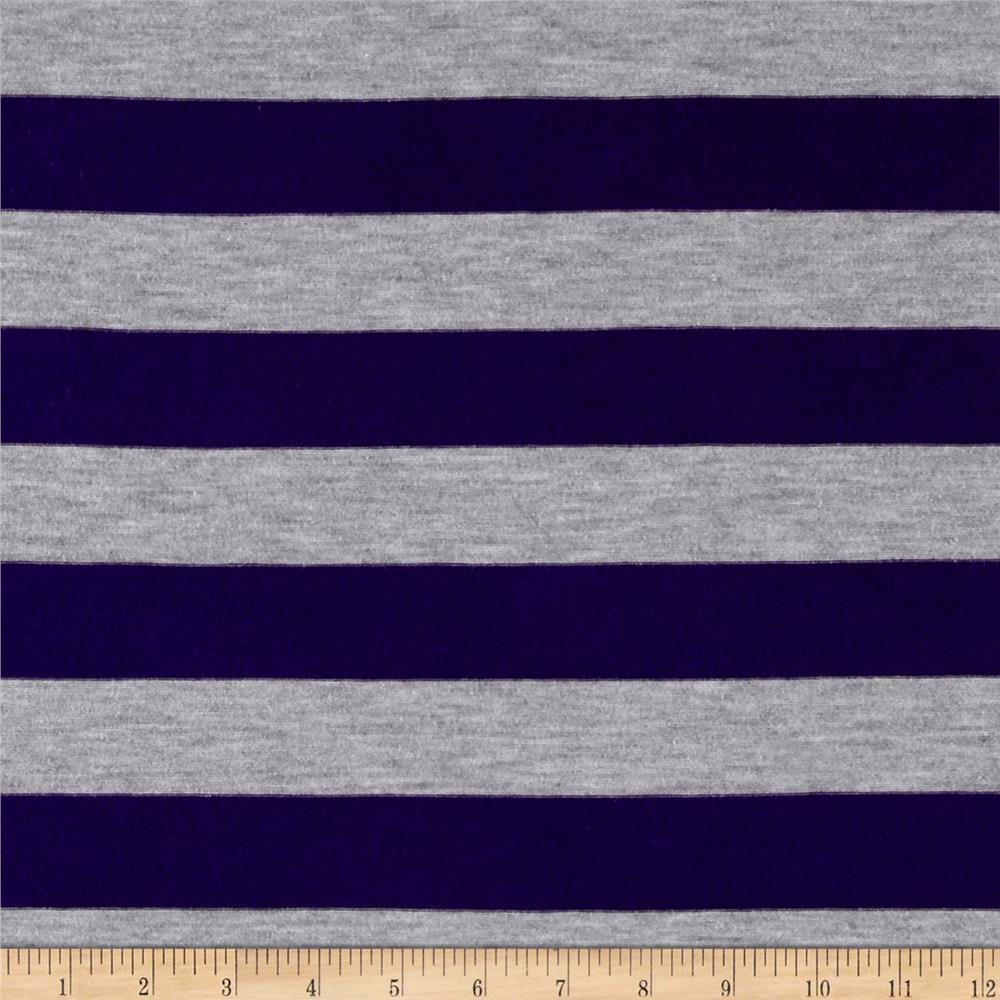 Designer Jersey Knit Stripe Purple/Gray