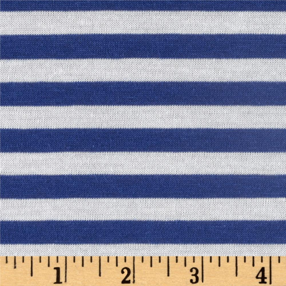 Jersey Knit Small Stripe Lapis/White