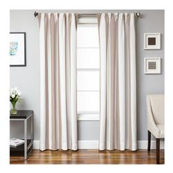 Sunbrella 96'' Rod Pocket Stripe Outdoor Panel Natural/Antique Beige