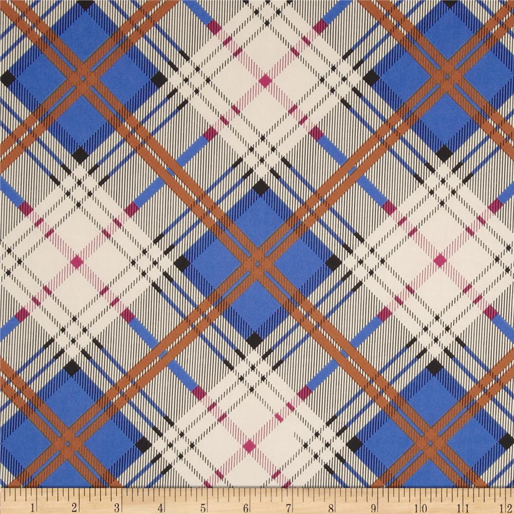 Stretch Satin Charmeuse Plaid Blue/Rust