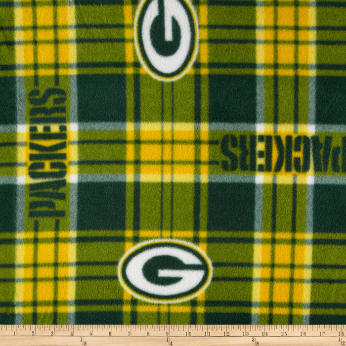 NFL Fleece Green Bay Pakers Plaid Green Fabric