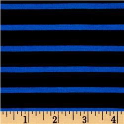 Rayon Spandex 1/2 X 1/4 Yarn Dyed Stripes Jersey Knit Black/Royal