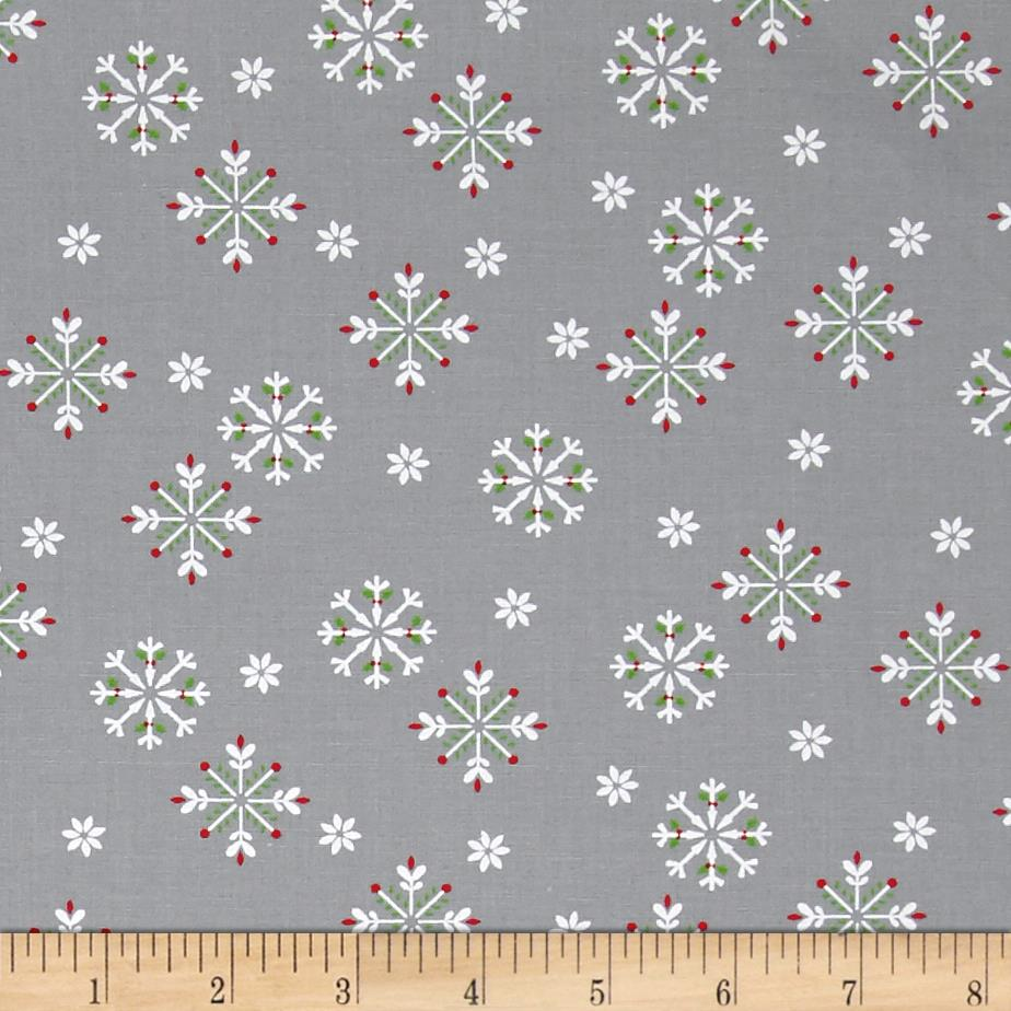 Moda Jingle Birds Snowflake Gray