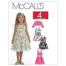 McCall's Children's/Girls' Shrug, Lined Dresses And Sash Pattern M6018 Size CE0