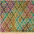 Indian Batik Montego Bay Metallic Medallion Olive/Purple