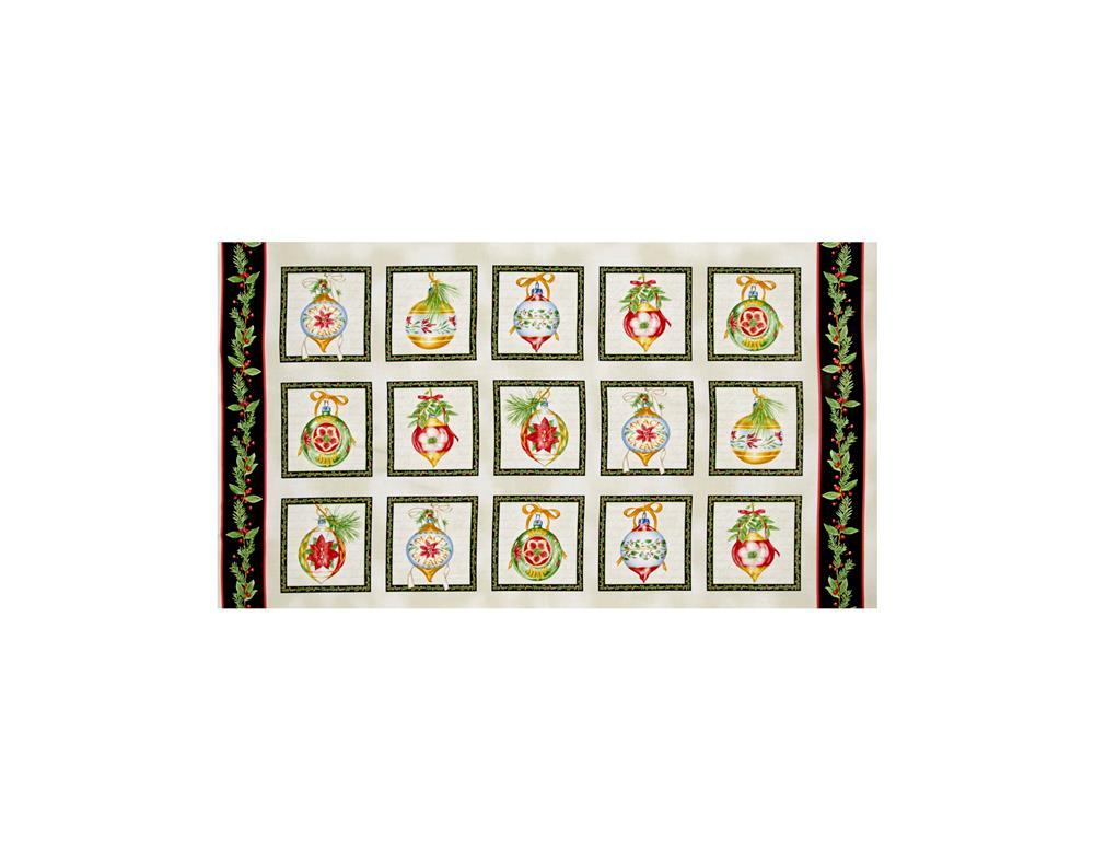 Christmas Elegance Ornament Blocks 24 In. Panel Cream/Black Fabric By The Yard