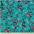 Venezia Spun Poly Jersey Knit Floral Turquoise/Red