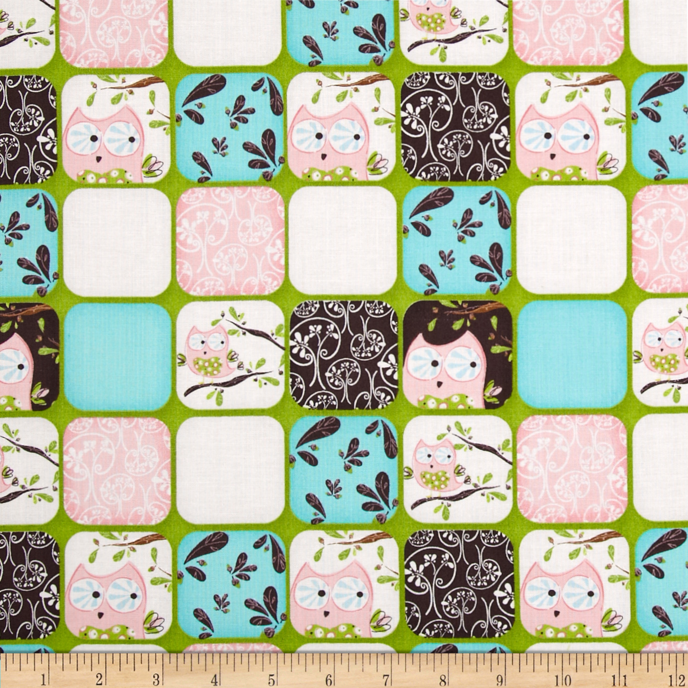 Whoo's Cute Cute Collage Green Fabric