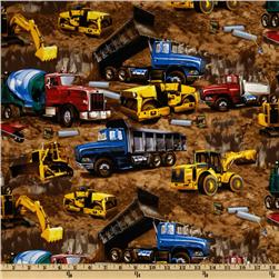 Construction Vehicles Brown Fabric