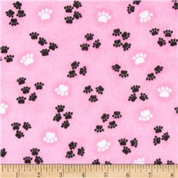 Comfy Flannel Paw Prints Pink