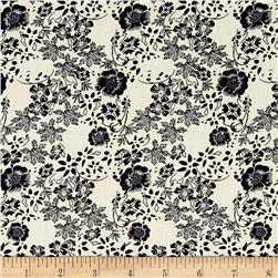 Hampton Court Cotton Shirting Floral Print Off White/Navy