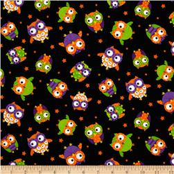 Timeless Treasures Halloween Owls Black