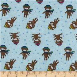 Alpine Flannel Sock Monkey Blue Fabric