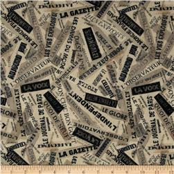 Letters from Paris Words Linen Fabric