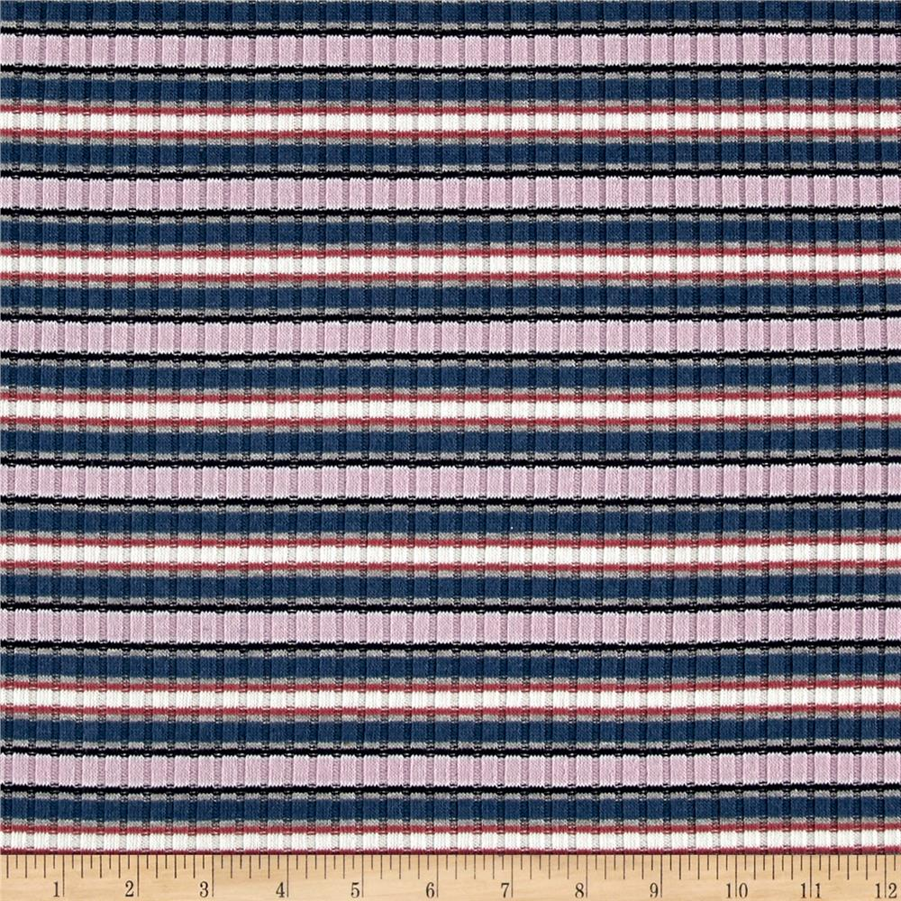 Rib Knit Yarn Dyed Small Stripes Lilac/Navy/White Fabric