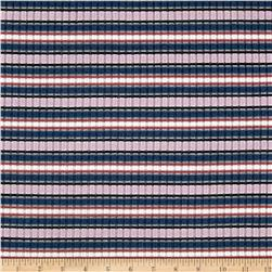 Rib Knit Yarn Dyed Small Stripes Lilac/Navy/White