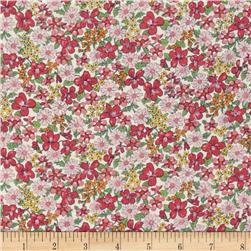 Memore a Paris Cotton Lawn Spring Flowers Packed Pink