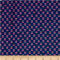 Kaufman Tiny Happy Lucky Cherries Navy