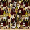 Timeless Treasures Bottles Wine