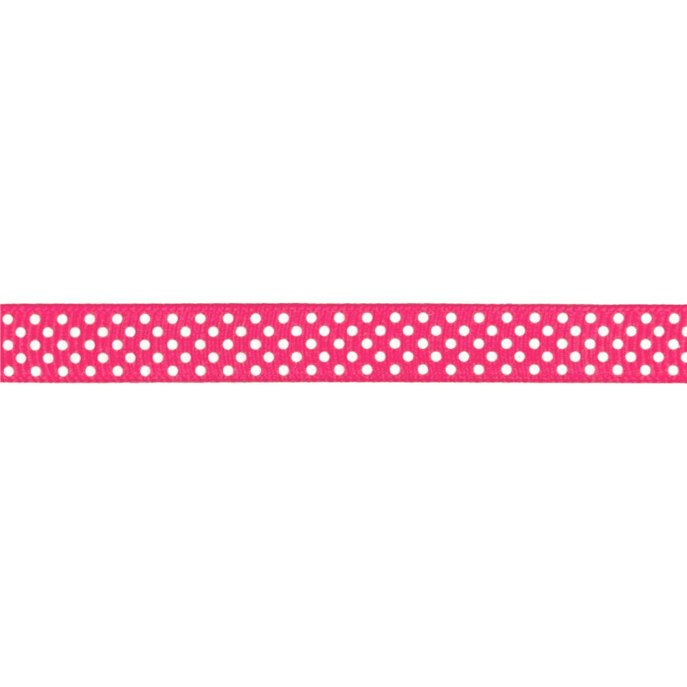 "Riley Blake 3/8"" Grosgrain Ribbon White Dots Hot Pink"