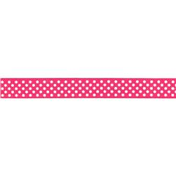 Riley Blake 3/8'' Grosgrain Ribbon White Dots Hot