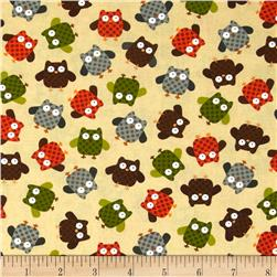 Kanvas Forest Friendzy What A Hoot Khaki Fabric