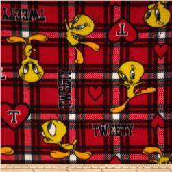 Fleece Looney Tunes Tweety Plaid Red