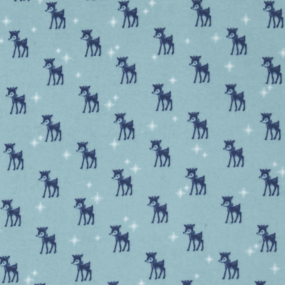 Riley Blake Cozy Christmas Flannel Reindeer Blue Fabric by Christensen in USA