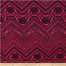 Jersey Knit Aztec Hot Pink Navy