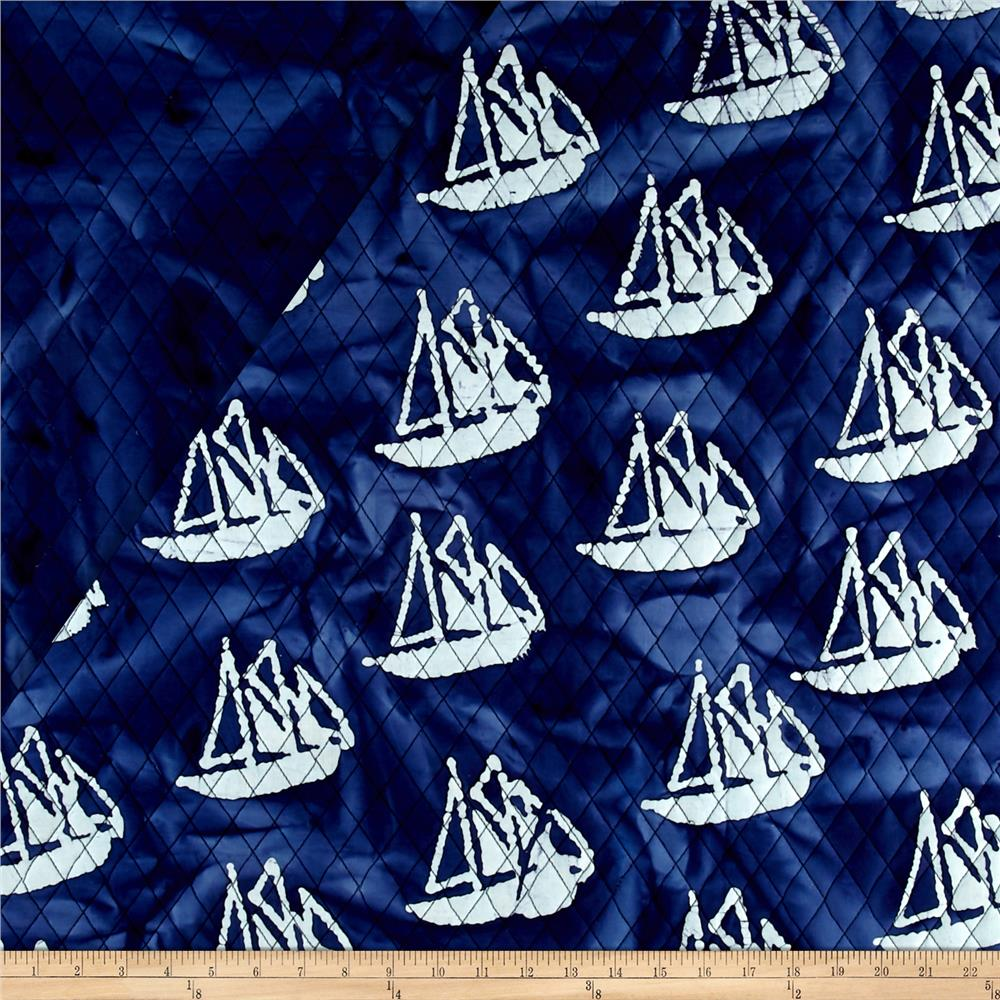 Indian Batik Double Face Quilted Boats White